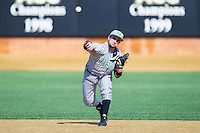 Sergio Leon (4) of the Marshall Thundering Herd makes a throw to first base during infield practice prior to the game against the Georgetown Hoyas at Wake Forest Baseball Park on February 15, 2014 in Winston-Salem, North Carolina.  The Thundering Herd defeated the Hoyas 5-1.  (Brian Westerholt/Four Seam Images)