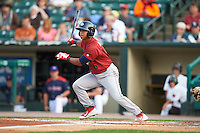 Lehigh Valley IronPigs shortstop Edgar Duran (6) at bat during a game against the Rochester Red Wings on July 4, 2015 at Frontier Field in Rochester, New York.  Lehigh Valley defeated Rochester 4-3.  (Mike Janes/Four Seam Images)