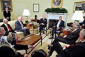 United States President Barack Obama meets bipartisan leaders of the Senate and the bipartisan leaders of the Senate Judiciary Committee in the Oval Office to discuss the Supreme Court vacancy left by the retirement of Justice Stevens in Washington, D.C. on Wednesday, April 21, 2010.  From left to right: U.S. Senator Jeff Sessions (Republican of Alabama), ranking member, U.S. Senate Judiciary Committee; U.S. Senator Patrick Leahy (Democrat of Vermont), Chairman, U.S. Senate Judiciary Committee; Vice President Joseph Biden; President Obama; U.S. Senate Majority Leader Harry Reid (Democrat of Nevada); and U.S. Senate Republican Leader Mitch McConnell (Republican of Kentucky)..Credit: Ron Sachs / Pool via CNP