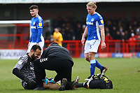 injury concern for Zeus de la Paz of Oldham Athletic during Crawley Town vs Oldham Athletic, Sky Bet EFL League 2 Football at Broadfield Stadium on 7th March 2020