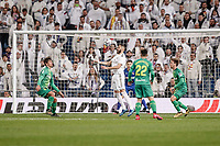 6th February 2020; Estadio Santiago Bernabeu, Madrid, Spain; Copa Del Rey Football, Real Madrid versus Real Sociedad; Karim Benzema (Real Madrid)  controls the ball from a cross to get a shot on goal