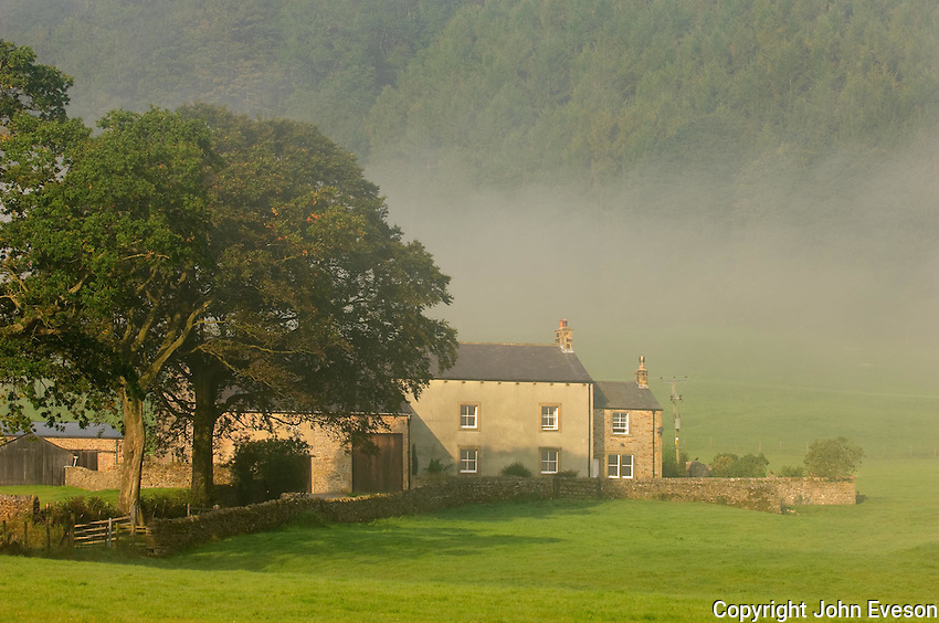 Farmhouse with mist, Whitewell, Lancashire. Forest of Bowland....Copyright..John Eveson, Dinkling Green Farm, Whitewell, Clitheroe, Lancashire. BB7 3BN.01995 61280. 07973 482705.j.r.eveson@btinternet.com.www.johneveson.com