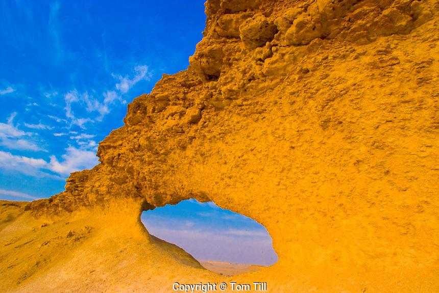 Natural arch in Qatari desert.Qatar, Arabian Pennisula.Near Saudi Arabia.DH.The Eye of Qatar