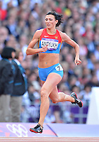 August 05, 2012: Natalya Antyukh of RUS competes in the round one of women's 400m hurdles at the Olympic Stadium on day nine of 2012 Olympic Games in London, United Kingdom. She was disqualified for failing the drug test..