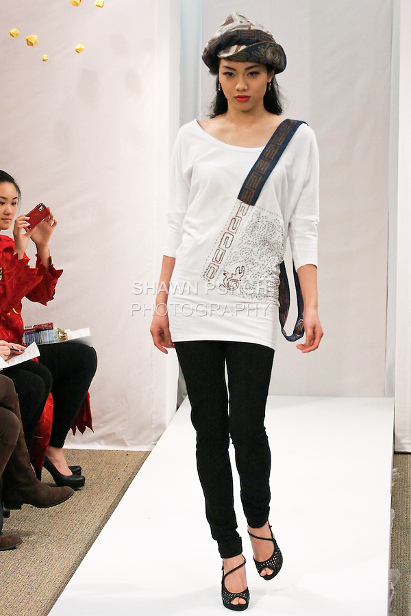 """Linn Yen walks runway in an outfit by Way Zen, for the JSONG...Way Fall 2011 """"Dreams of Happiness"""" collection, fashion show."""