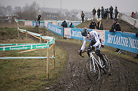 European &amp; Belgian National U23 Champion Quinten Hermans (BEL/U23/Telenet-Fidea) on his way to winning teh Superprestige Series (finishing 2nd in this race)<br /> <br /> U23 men's race<br /> CX Superprestige Noordzeecross <br /> Middelkerke / Belgium 2017