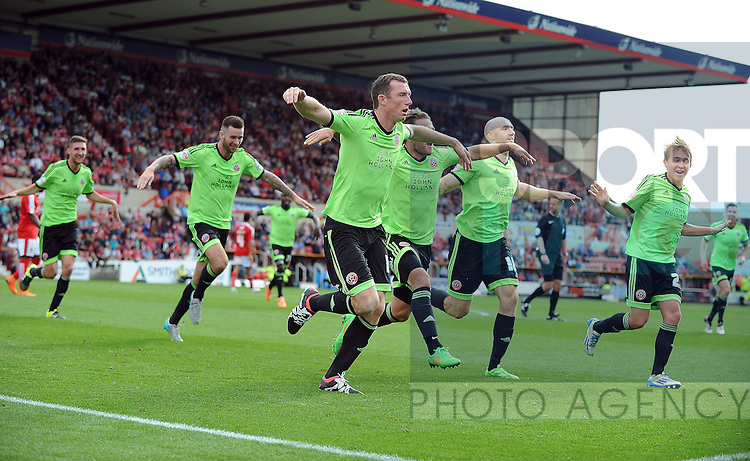 Neill Collins of Sheffield United celebrates scoring the opening goal of the game with team mates<br /> - English League One - Swindon Town vs Sheffield Utd - County Ground Stadium - Swindon - England - 29th August 2015 <br /> --------------------
