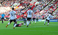 Swansea City's Yan Dhanda scores his side's second goal during the Sky Bet Championship match between Sheffield United and Swansea City at Bramall Lane, Sheffield, England, UK. Saturday 04 August 2018