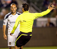LA Galaxy forward Landon Donovan (10) isn't happy with the call from Referee Jair Marrufo. The LA Galaxy and Toronto FC played to a 0-0 draw at Home Depot Center stadium in Carson, California on Saturday May 15, 2010.  .