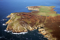 Pictured: An aerial view of part of Ramsey Island.<br /> Re: A new airborne laser survey of RSPB Ramsey Island has revealed a hidden archaeological landscape thought to date back 4,500 years to the Bronze Age, changing our understanding of how this isolated Pembrokeshire island was settled while providing a powerful new management tool for the RSPB.<br /> The airborne laser survey was commissioned by archaeologists from the Royal Commission on the Ancient and Historical Monuments of Wales as part of the new European-funded Ireland-Wales CHERISH project investigating climate change and coastal heritage. The data captured during the survey has enabled the creation of a highly detailed 3D model of Ramsey Island for the first time. Not only has this led to the discovery of new archaeological sites but it also provides an accurate and precise dataset which can be used to monitor environmental changes on the island as a result of climate change. The CHERISH Project is funded through the EU's Ireland Wales Co-Operation Programme 2014-20.<br /> The new survey has revealed exciting sites such as Bronze Age round barrows, a prehistoric coastal promontory fort, the possible site of a lost chapel and a multitude of ancient field systems. These discoveries are forcing archaeologists to change their interpretation of how humans would have interacted with Ramsey Island during the last 4,000-5,000 years.
