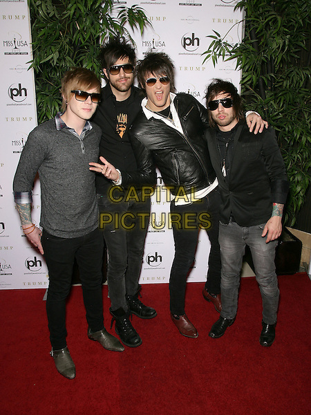 BOYS LIKE GIRLS.2010 Miss USA Pageant at the Planet Hollywood Resort Hotel and Casino, Las Vegas, Nevada, USA..May 16th, 2010.full length black grey gray leather jacket sunglasses shades hand gesture band group Martin Johnson Paul DiGiovanni Bryan Donahue John Keefe.CAP/ADM/MJT.© MJT/AdMedia/Capital Pictures.