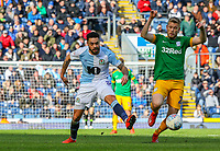 Blackburn Rovers' Derrick Williams battles with Preston North End's Jayden Stockley<br /> <br /> Photographer Alex Dodd/CameraSport<br /> <br /> The EFL Sky Bet Championship - Blackburn Rovers v Preston North End - Saturday 9th March 2019 - Ewood Park - Blackburn<br /> <br /> World Copyright © 2019 CameraSport. All rights reserved. 43 Linden Ave. Countesthorpe. Leicester. England. LE8 5PG - Tel: +44 (0) 116 277 4147 - admin@camerasport.com - www.camerasport.com