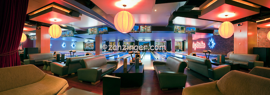 Lucky Strike Bowling Alley, LA LIVE, Downtown, Los Angeles, Interior, beautiful, Architecture;