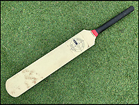 BNPS.co.uk (01202 558833)<br /> Pic JohnGoodwin/BNPS<br /> <br /> Evolutionary dead end - Dennis Lillee's controversial aluminium bat from the Perth Ashes test of 1979.<br /> <br /> Legendary bat maker is selling up his historic collection of willow wonders.<br /> <br /> A collection of cricket bats that were used by some of finest players of all-time have been put up for sale by the man who crafted them with his own hands.<br /> <br /> Duncan Fearnley, 79, is best known for producing bats for legendary England all-rounder Ian Botham throughout his illustrious career.<br /> <br /> He also created hand-made blades for the likes of Viv Richards, Clive Lloyd and Indian hero Sunil Gavaskar, all featuring his famous 'three stump' logo.<br /> <br /> At the end of a season the bats were often donated back to him by generous players and he has now decided to part with a number of them.