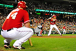 24 September 2010: Washington Nationals infielder Ian Desmond sets at bat as teammate Adam Dunn watches action from the on-deck circle against the Atlanta Braves at Nationals Park in Washington, DC. The Nationals defeated the Braves 8-3 to take the first game of their 3-game series. Mandatory Credit: Ed Wolfstein Photo