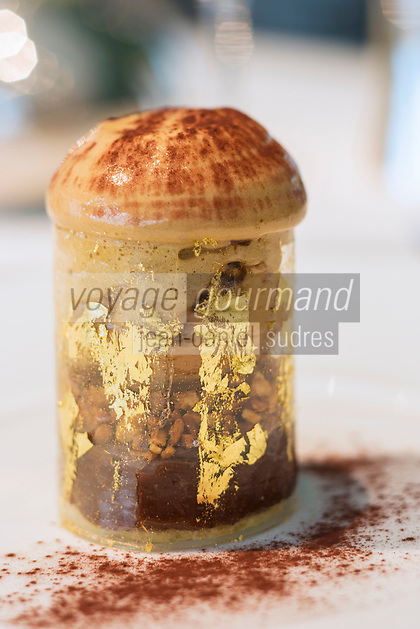 Europe, France, Paris (75), Restaurant Le Pré Catelan  Bois de Boulogne, L'Expresso café chocolat dessert de Christelle Brua chef pâtissier   //  Europe, France, Paris,  Le Pre Catelan Restaurant, Bois de Boulogne, 'Expresso coffee chocolate dessert by Christelle Brua  Pastry Chef  <br />  [Non destiné à un usage publicitaire - Not intended for an advertising use]