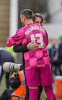Wycombe Wanderers 46 year old Keeper Barry Richardson who kept a clean sheet against Plymouth Argyle on Saturday (30/01/16) having not played a competitive game in over 10 years (hugging Wycombe Manager Gareth Ainsworth before coming on). Photo by Mark Hawkins / PRiME Media Images