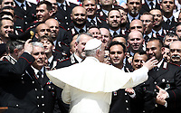 Papa Francesco saluta alcuni Carabinieri durante l'udienza generale del mercoledi' in Piazza San Pietro, Citta' del Vaticano, 30 maggio, 2018.<br /> Pope Francis greets a group of Carabinieri during weekly general audience in St. Peter's Square, at the Vatican, on May 30, 2018. <br /> UPDATE IMAGES PRESS/IsabellaBonotto<br /> <br /> STRICTLY ONLY FOR EDITORIAL USE