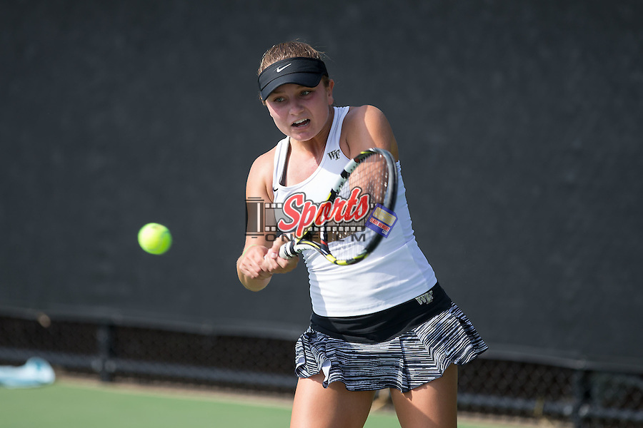 Emma Davis of the Wake Forest Demon Deacons during singles action in the Wake Forest Invitational at the Wake Forest Tennis Center on October 9, 2015 in Winston-Salem, North Carolina.  (Brian Westerholt/Sports On Film)