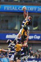 Stuart Hooper rises high to win lineout ball. Amlin Challenge Cup Final, between Bath Rugby and Northampton Saints on May 23, 2014 at the Cardiff Arms Park in Cardiff, Wales. Photo by: Patrick Khachfe / Onside Images