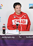 LONDON, ENGLAND 08/28/2012:  Marco Dispaltro speaks at Team Canada Preview press conference before the London 2012 Paralympic Games at the Main Press Centre. (Photo by Matthew Murnaghan/Canadian Paralympic Committee)
