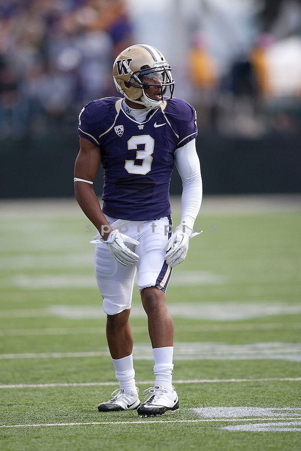 JAMES JOHNSON, of the Washington Huskies, in action during Washington's game against the Colorado Buffaloes on October 15, 2011 at Husky Stadium in Seattle, WA. Washington beat Colorado 52-24.