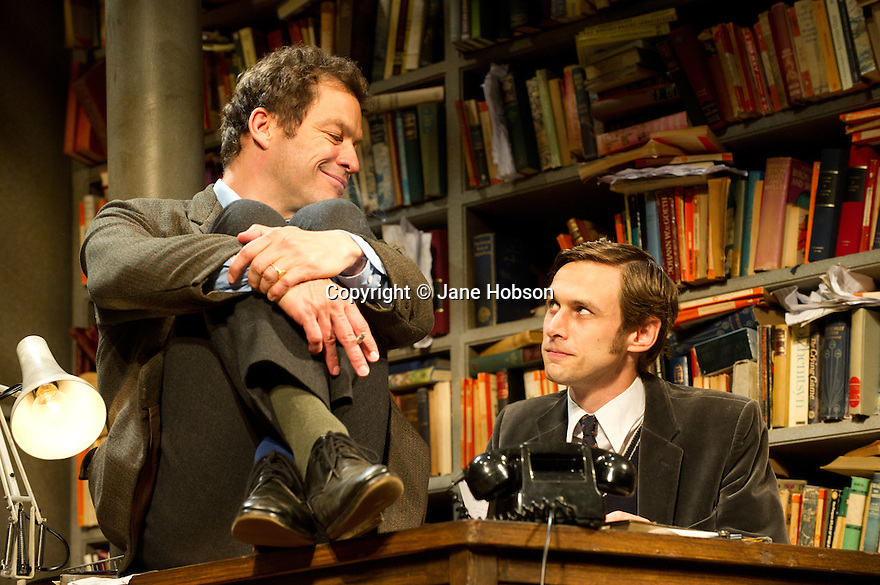 "London, UK. 03/06/2011.  ""Butley"" by Simon Gray opens at the Duchess Theatre, London. Dominic West (The Wire) stars as the eponymous Butley. Picture shows Dominic West (l) as Butley and Martin Hutson (r) as Joseph Keyston. Photo credit should read Jane Hobson"