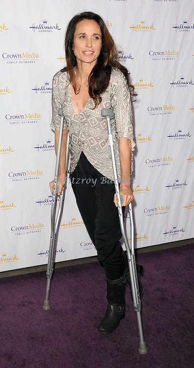 A injured Andie MacDowell arriving to the Hallmark Chanel and Hallmark Movie Chanel Winter TCA Gala, held at The Huntington Beach Library and Gardens in Santa Monica Mario, CA. January 4, 2013