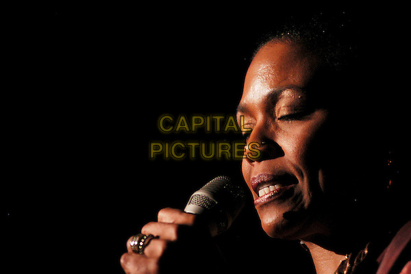 "DEE DEE BRIDGEWATER.Performs in concert - ""Malian Project"".Auditorium Parco Della Musica,.Rome, Itlay, 19th November 2006..portrait headshot music concert gig live on stage funny eyes shut.CAP/CAV.©Luca Cavallari/Capital Pictures."