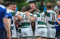 Luke Carter of Ealing Trailfinders celebrates with team mates after he scores a try during the British & Irish Cup Final match between Ealing Trailfinders and Leinster Rugby at Castle Bar, West Ealing, England  on 12 May 2018. Photo by David Horn / PRiME Media Images.