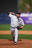 New York Yankees relief pitcher Nick Goody (73) delivers a pitch during a Spring Training game against the Detroit Tigers on March 2, 2016 at George M. Steinbrenner Field in Tampa, Florida.  New York defeated Detroit 10-9.  (Mike Janes/Four Seam Images)