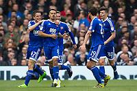 Brentford's Nico Yennaris (#8) celebrates with team mates after scoring his sides equalising goal to make the score 1-1     <br /> <br /> <br /> Photographer Craig Mercer/CameraSport<br /> <br /> The EFL Sky Bet Championship - Fulham v Brentford  - Saturday 29th April 2017 - Craven Cottage - London <br /> <br /> World Copyright &copy; 2017 CameraSport. All rights reserved. 43 Linden Ave. Countesthorpe. Leicester. England. LE8 5PG - Tel: +44 (0) 116 277 4147 - admin@camerasport.com - www.camerasport.com