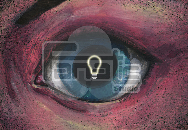 Illustrative image of bulb in eye representing idea