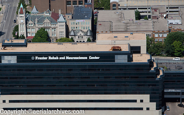 aerial photograph Frazier Rehab and Neuroscience Center, downtown Louisville, Kentucky