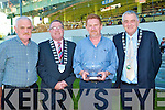 CIVIC RECEPTION: Mike and Vincent McKenna owner's of Irish Derby winner College Causeway with the Mayor of Kerry Bobby O'Connell at the civic reception held in their honor at the Kingdom Greyhound Stadium on Friday l-r: Vincent McKenna, Mayor of Kerry Bobby O'Connell, Mike McKenna and Brian Divilly (President I.C.C.).