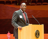 STANFORD, CA - OCTOBER 16, 2015-- Bernard Muir, gives a speech at the 2015 Stanford Athletics Hall of Fame Induction Ceremony at the Bing Concert Hall .