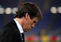 Calcio, Champions League: Gruppo E - Roma vs Bate Borisov. Roma, stadio Olimpico, 9 dicembre 2015.<br /> Roma's coach Rudi Garcia looks down prior to the start of the Champions League Group E football match between Roma and Bate Borisov at Rome's Olympic stadium, 9 December 2015.<br /> UPDATE IMAGES PRESS/Isabella Bonotto