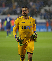 Pictured: Lukasz Fabianski of Swansea City throws his gloves to away fans Saturday 27 August 2016<br /> Re: Swansea City FC v Leicester City FC Premier League game at the King Power Stadium, Leicester, England, UK