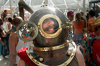 BLACK ROCK CITY,NV - AUGUST 29, 2008:  Joseph Hren of San Francisco sporting a retro look while spending the week at Burning Man. Photographed at center camp, August 29, 2008.