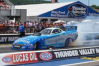 Jun 19, 2016; Bristol, TN, USA; NHRA funny car driver Tommy Johnson Jr during the Thunder Valley Nationals at Bristol Dragway. Mandatory Credit: Mark J. Rebilas-USA TODAY Sports