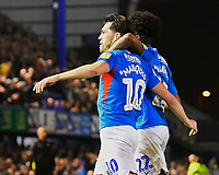 John Marquis of Portsmouth (10) celebrates scoring with provider Ellis Harrison of Portsmouth during Portsmouth vs Rotherham United, Sky Bet EFL League 1 Football at Fratton Park on 26th November 2019
