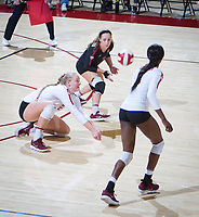 STANFORD, CA - November 4, 2018: Kathryn Plummer, Morgan Hentz, Tami Alade at Maples Pavilion. No. 2 Stanford Cardinal defeated the Utah Utes 3-0.