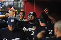 Jun. 30, 2008; Phoenix, AZ, USA; Milwaukee Brewers first baseman Prince Fielder is congratulated by his teammates after driving in a run during the first inning against the Arizona Diamondbacks at Chase Field. Mandatory Credit: Mark J. Rebilas-