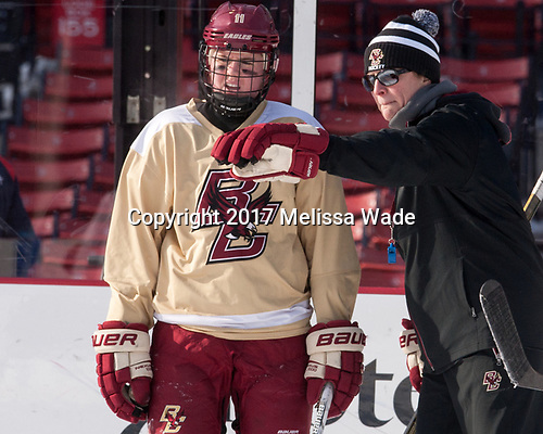 Caitrin Lonergan (BC - 11), Katie Crowley (BC - Head Coach) - The Boston College Eagles practiced at Fenway on Monday, January 9, 2017, in Boston, Massachusetts.Caitrin Lonergan (BC - 11), Katie Crowley (BC - Head Coach) - The Boston College Eagles practiced at Fenway on Monday, January 9, 2017, in Boston, Massachusetts.