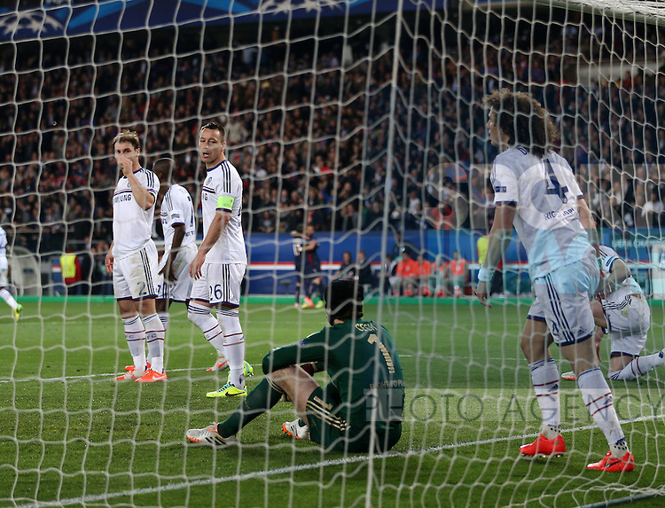 Chelsea's John Terry looks on dejected after David Luiz scores an own goal to put PSG 2-1 up<br /> <br /> Paris Saint Germain vs Chelsea - Champions League - Parc Des Princes- Paris - France - 02/03/2014  - Pic David Klein/Sportimage