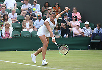 Sara Sorribes Tormo (ESP) during her match against Caroline Wozniacki (DEN) in their Ladies' Singles First Round match<br /> <br /> Photographer Rob Newell/CameraSport<br /> <br /> Wimbledon Lawn Tennis Championships - Day 1 - Monday 1st July 2019 -  All England Lawn Tennis and Croquet Club - Wimbledon - London - England<br /> <br /> World Copyright © 2019 CameraSport. All rights reserved. 43 Linden Ave. Countesthorpe. Leicester. England. LE8 5PG - Tel: +44 (0) 116 277 4147 - admin@camerasport.com - www.camerasport.com