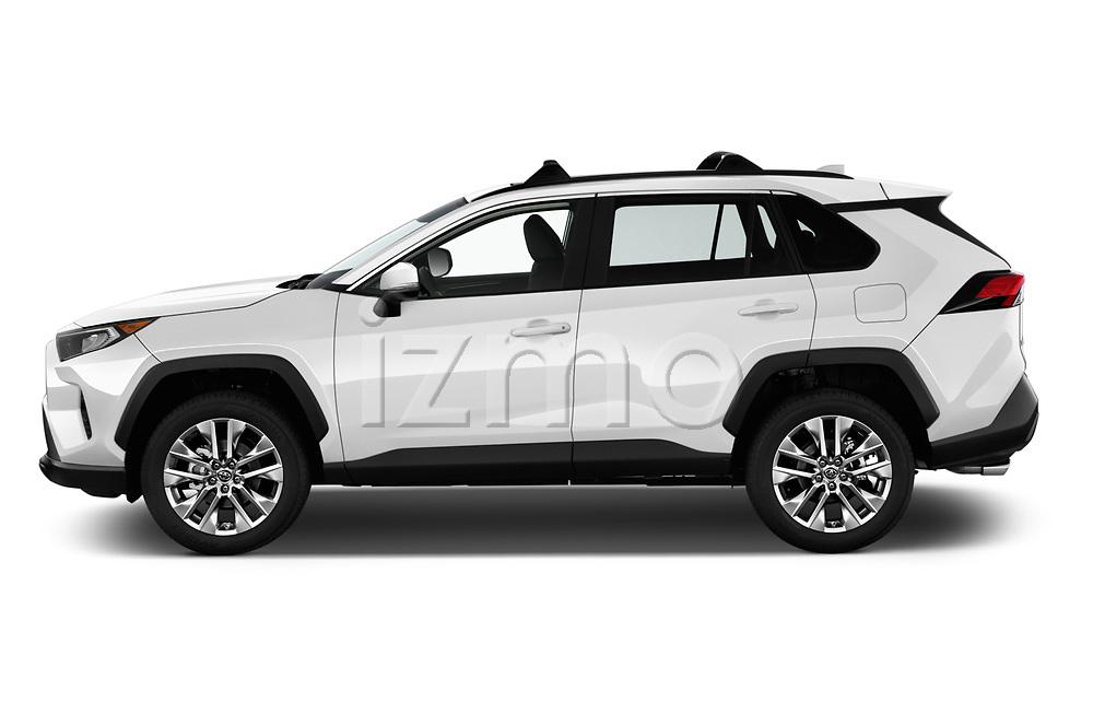 Car driver side profile view of a 2019 Toyota RAV4 XLE Premium 5 Door SUV
