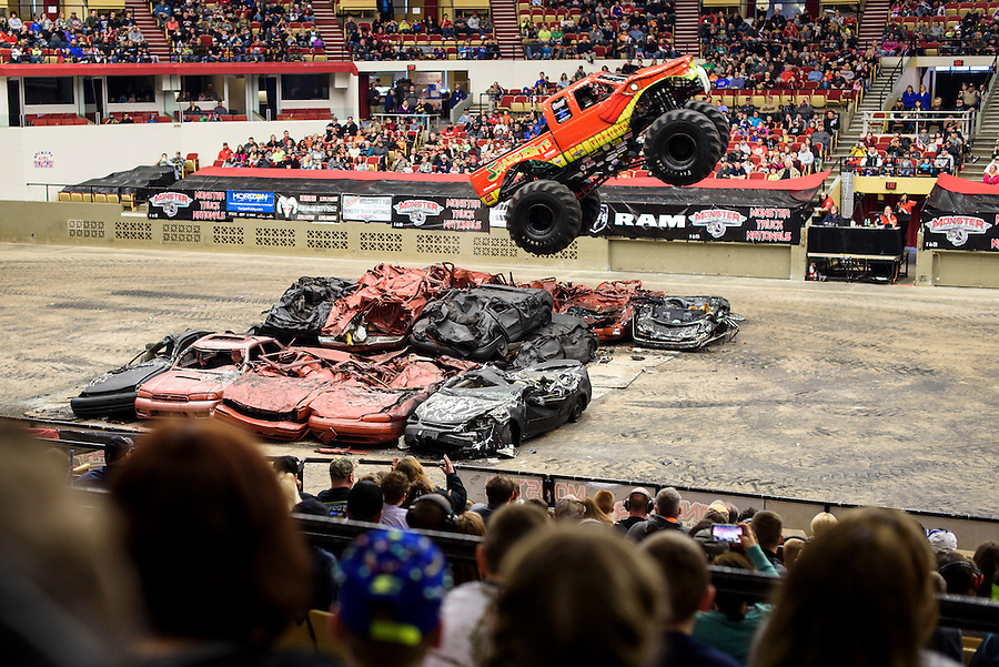 Fans watch as Snake Bit competes during the Monster Truck Nationals at the Veterans Memorial Coliseum at the Alliant Energy Center in Madison, Wis., on Jan. 31, 2016. (Photo by Jeff Miller, www.jeffmillerphotography.com)