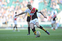 Joe Carlisle of London Wasps takes a penalty kick during the Aviva Premiership match between London Wasps and Gloucester Rugby at Twickenham Stadium on Saturday 19th April 2014 (Photo by Rob Munro)