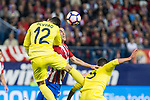 Alvaro Gonzalez of Villarreal battles for an aerial ball Filipe Luis of Atletico de Madrid during the match of La Liga between Atletico de Madrid and Villarreal at Vicente Calderon  Stadium  in Madrid, Spain. April 25, 2017. (ALTERPHOTOS/Rodrigo Jimenez)